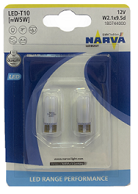 Светодиоды 12V  T10 Range Performance LED white 6000K бл.2 шт. (180744000) NARVA